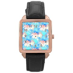Palm Trees Summer Afternoon Rose Gold Leather Watch