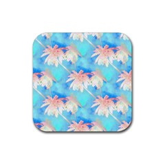 Palm Trees Summer Afternoon Rubber Square Coaster (4 Pack)