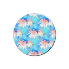 Palm Trees Summer Afternoon Rubber Round Coaster (4 Pack)