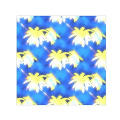 Palm Trees Bright Blue Green Small Satin Scarf (square)