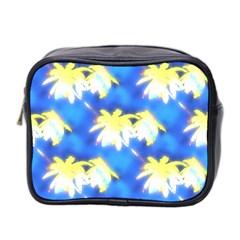 Palm Trees Bright Blue Green Mini Toiletries Bag 2 Side