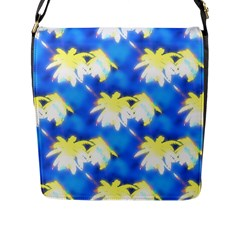 Palm Trees Bright Blue Green Flap Messenger Bag (l)