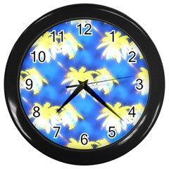 Palm Trees Bright Blue Green Wall Clock (black)