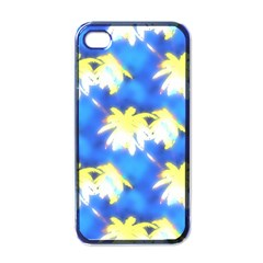 Palm Trees Bright Blue Green Apple Iphone 4 Case (black)