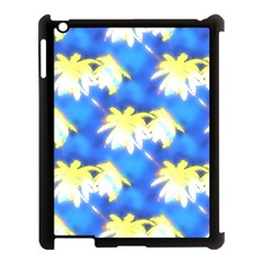 Palm Trees Bright Blue Green Apple Ipad 3/4 Case (black) by CrypticFragmentsColors