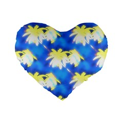 Palm Trees Bright Blue Green Standard 16  Premium Flano Heart Shape Cushions by CrypticFragmentsColors