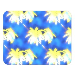 Palm Trees Bright Blue Green Double Sided Flano Blanket (large)