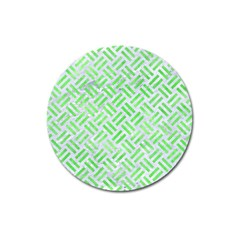 Woven2 White Marble & Green Watercolor (r) Magnet 3  (round)