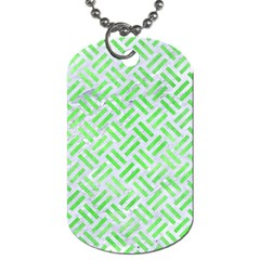 Woven2 White Marble & Green Watercolor (r) Dog Tag (one Side)