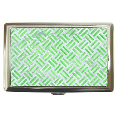 Woven2 White Marble & Green Watercolor (r) Cigarette Money Cases