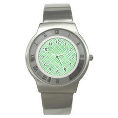 Woven2 White Marble & Green Watercolor (r) Stainless Steel Watch