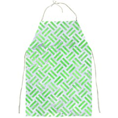 Woven2 White Marble & Green Watercolor (r) Full Print Aprons