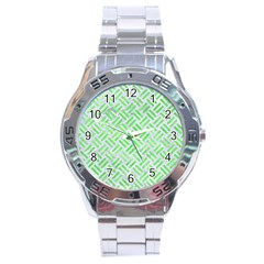 Woven2 White Marble & Green Watercolor (r) Stainless Steel Analogue Watch