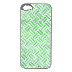 Woven2 White Marble & Green Watercolor (r) Apple Iphone 5 Case (silver)