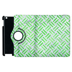 Woven2 White Marble & Green Watercolor (r) Apple Ipad 3/4 Flip 360 Case