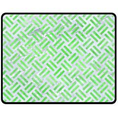 Woven2 White Marble & Green Watercolor (r) Double Sided Fleece Blanket (medium)