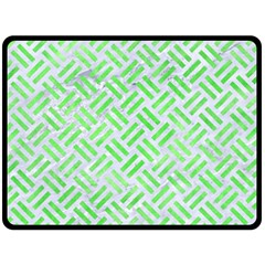 Woven2 White Marble & Green Watercolor (r) Double Sided Fleece Blanket (large)