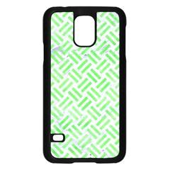Woven2 White Marble & Green Watercolor (r) Samsung Galaxy S5 Case (black)