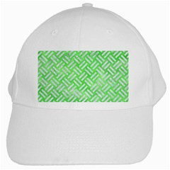 Woven2 White Marble & Green Watercolor White Cap