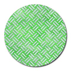 Woven2 White Marble & Green Watercolor Round Mousepads by trendistuff