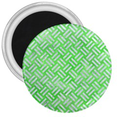Woven2 White Marble & Green Watercolor 3  Magnets