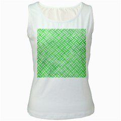 Woven2 White Marble & Green Watercolor Women s White Tank Top