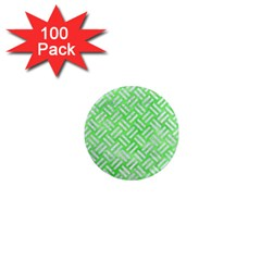 Woven2 White Marble & Green Watercolor 1  Mini Magnets (100 Pack)