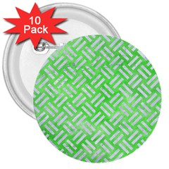Woven2 White Marble & Green Watercolor 3  Buttons (10 Pack)