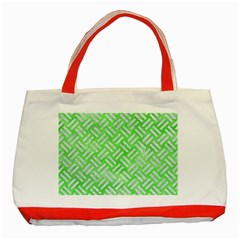 Woven2 White Marble & Green Watercolor Classic Tote Bag (red)