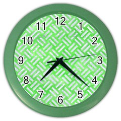 Woven2 White Marble & Green Watercolor Color Wall Clock