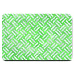 Woven2 White Marble & Green Watercolor Large Doormat