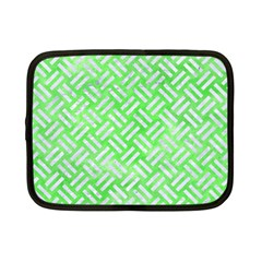 Woven2 White Marble & Green Watercolor Netbook Case (small)