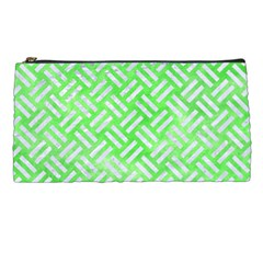 Woven2 White Marble & Green Watercolor Pencil Cases by trendistuff