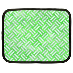 Woven2 White Marble & Green Watercolor Netbook Case (xl)