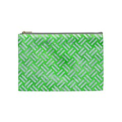 Woven2 White Marble & Green Watercolor Cosmetic Bag (medium)