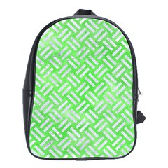 Woven2 White Marble & Green Watercolor School Bag (large)