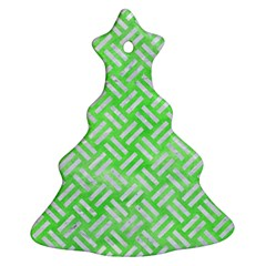 Woven2 White Marble & Green Watercolor Ornament (christmas Tree)
