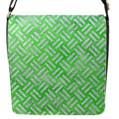 Woven2 White Marble & Green Watercolor Flap Messenger Bag (s)