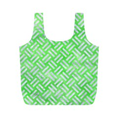 Woven2 White Marble & Green Watercolor Full Print Recycle Bags (m)