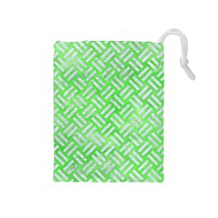 Woven2 White Marble & Green Watercolor Drawstring Pouches (medium)