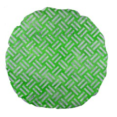 Woven2 White Marble & Green Watercolor Large 18  Premium Flano Round Cushions