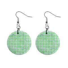 Woven1 White Marble & Green Watercolor (r) Mini Button Earrings