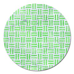 Woven1 White Marble & Green Watercolor (r) Magnet 5  (round)