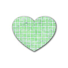 Woven1 White Marble & Green Watercolor (r) Rubber Coaster (heart)