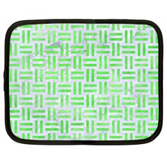 Woven1 White Marble & Green Watercolor (r) Netbook Case (large)