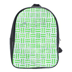 Woven1 White Marble & Green Watercolor (r) School Bag (large)