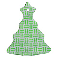 Woven1 White Marble & Green Watercolor (r) Christmas Tree Ornament (two Sides)