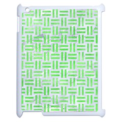 Woven1 White Marble & Green Watercolor (r) Apple Ipad 2 Case (white)