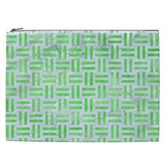 Woven1 White Marble & Green Watercolor (r) Cosmetic Bag (xxl)