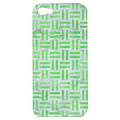 Woven1 White Marble & Green Watercolor (r) Apple Iphone 5 Hardshell Case
